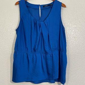 Eloqii Gathered Neckline Royal Blue Sleevless Top